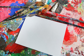 art card composition with blank white paper
