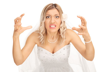 Angry bride threatening to strangle someone
