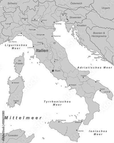 italien mit st dten in grau beschriftet landkarte. Black Bedroom Furniture Sets. Home Design Ideas