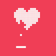 Valentines day card. Video game pixel heart. Retro vintage design. Editable vector.