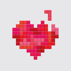 Valentines day card. Video game pixel red heart. Retro vintage design. Editable vector.
