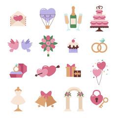 Wedding icon vector set isolated on white background