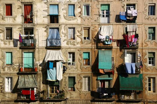 Fassade in El Raval, Barcelona, Spanien