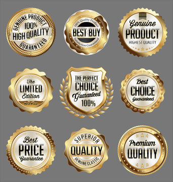 Gold and White Badge on Black Background. Luxury Set. Perfect Choice. Superior Quality. Premium Quality.