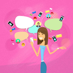 Girl Chatting Social Network Communication Concept