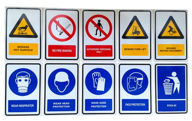 Signs with safety notices in factory