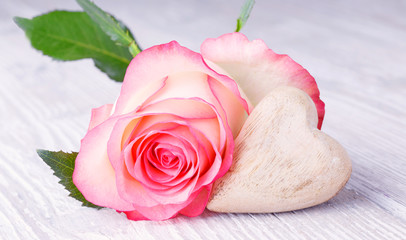 Beautiful pink rose with wooden heart