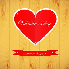 Brighter wooden background, hearts and ribbon