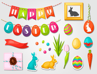 Happy Easter objects, decorations. Can be used for holiday invitations and posters