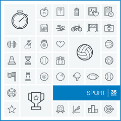 Vector thin line icons set and graphic design elements. Illustration with sport and fitness outline symbols. Ball, game, cup medal, trophy, football, volleyball linear pictograms.