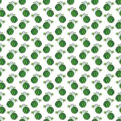 Green funny cartoon fruit watermelon seamless pattern