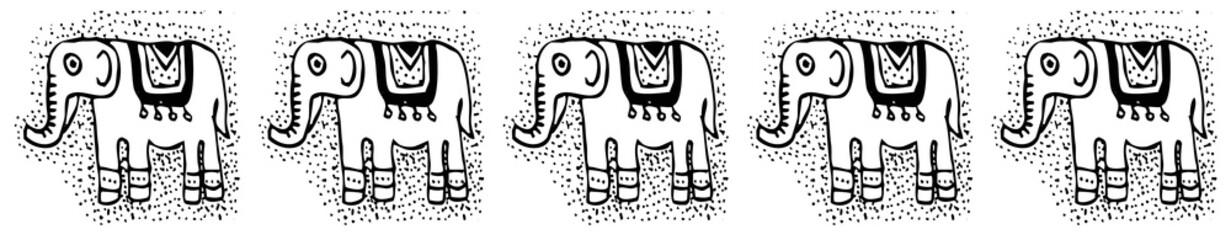 Ethnic  tribalSeamless Pattern with elephants