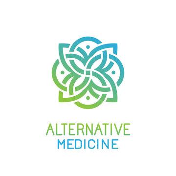 Vector abstract logo design template for alternative medicine