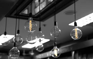 Set of light bulbs decor glowing light