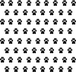 Vector texture from black animal paw prints. Texture prints dog,