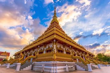 Golden temple Thailand sky view, Khonkaen