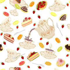 Seamless pattern with teapots, cups, cakes, lemons and strawberries.