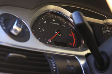 Speedometer on dashboard in the modern car