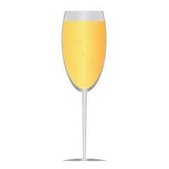 плоская иконка: бокал шампанского с пузырьками