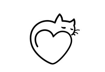 Силуэт, контурная иллюстрация кошка лежит на сердечке