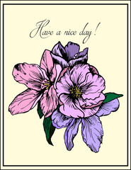 Hand drawn illustration. Delicate pink and purple flowers. Greeting card. Have a nice day.