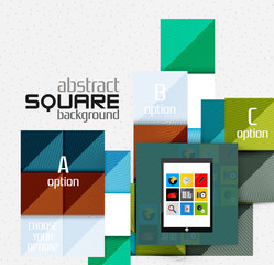 Geometric square shapes and infographic option elements with tablet