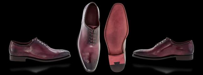 Men's shoes on black background