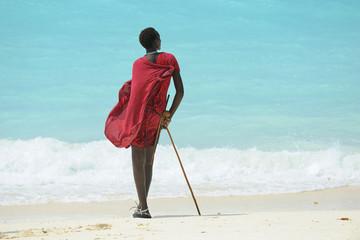 Poster Zanzibar Zanzibar spiaggia con ragazzo Masai