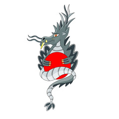gray dragon with red circle