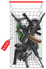 Many kind of weapons in the shopping cart