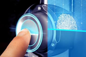 man uses a fingerprint scanner