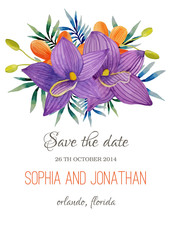 Wedding invitation watercolor with flowers.