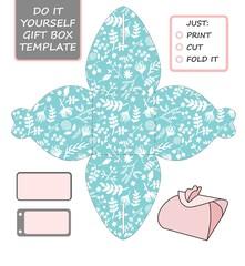 Favor, gift box die cut. Box template