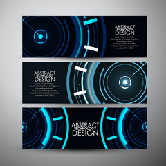 Vector banners set with Abstract blue Modern technology circles background.