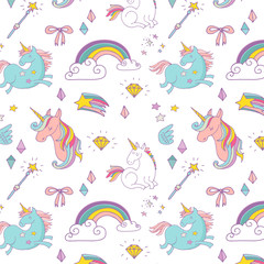 Magic hand drawn pattern - unicorn, rainbow and fairy wings
