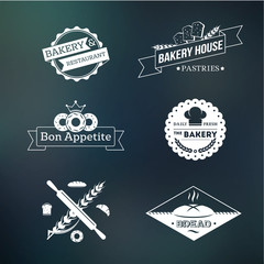 Vintage hipster bakery logo and icon set