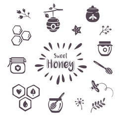 Summer honey icons, organic 