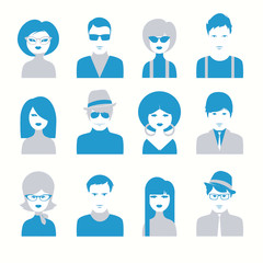 Vector avatar icon set of people sixties style
