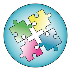 jigsaw, logo, vector, design, isolated, vector illustration