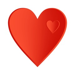 A big red heart with small hearts right side up in a large heart on a white background