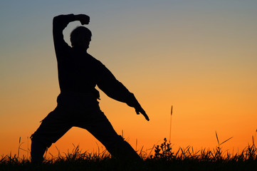 Man practicing karate on the grassy horizon after sunset. Art of self-defense. Silhouette against a bright orange sky.