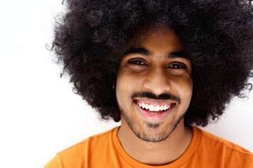 Smiling afro man with beard