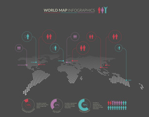 Set of infographics elements - world map, diagrams templates.
