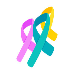 Awareness ribbons 3d isometric icon