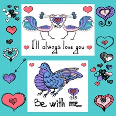 Love greeting cards. Love birds of Valentine's day. Love and loyalty. Vector sketch of hand drawn birds and hearts