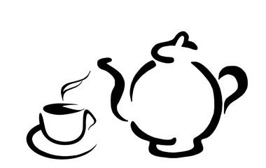 Контурный вектор - ароматный чай с чайником заварником