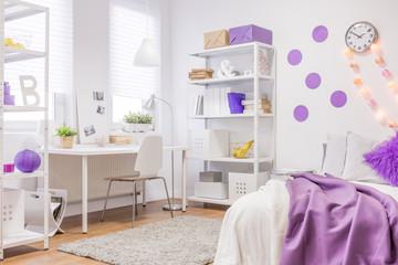 White and violet interior design