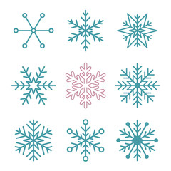 Set of simple snowflakes.