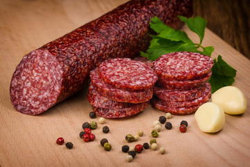 salami sausages  on a wooden table