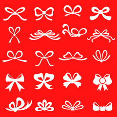 Silhouette bow set on red background